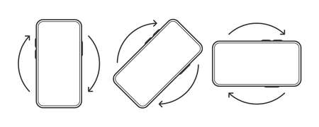 Rotate Smartphone icon on white background. Device rotation symbol. Line Vector illustration.