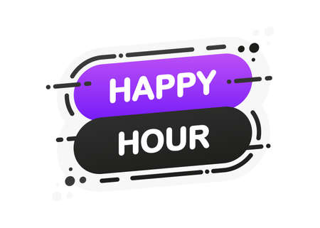 Happy Hour isolated flat banner on white background. Vector illustration. Ilustración de vector