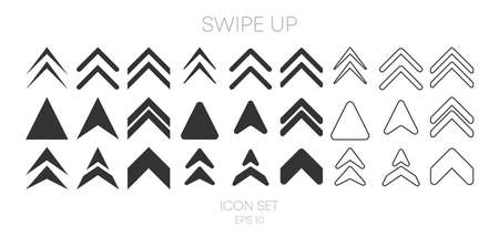Swipe Up big collection icons of different style on white background. Vector illustration. Vektorové ilustrace