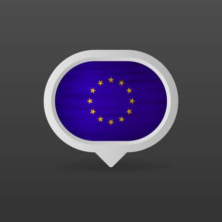 European union flag realistic flag. Made in European union. Vector illustration.