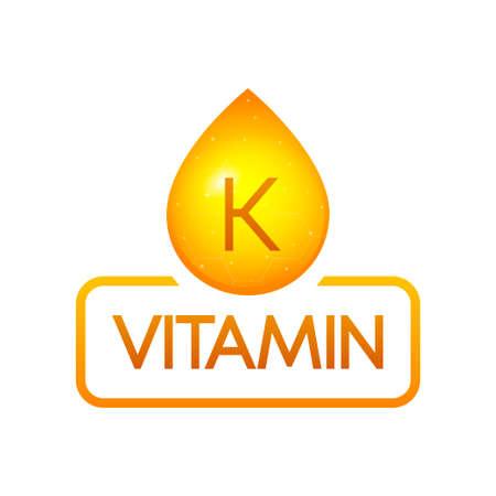 Vitamin K drop banner izolated on white background. Vector illustration. Vektorové ilustrace