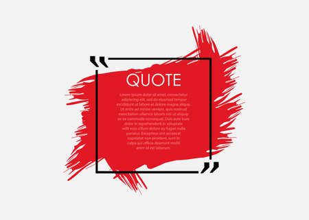 One red color quote speech bubble template. Vector illustration on white background.