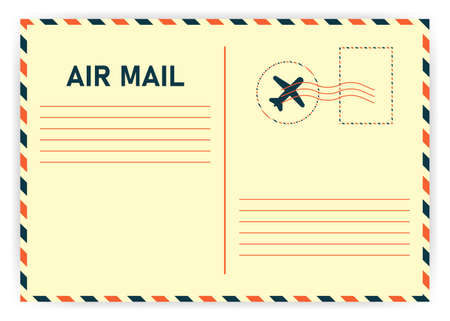 Realistic retro air mail on white background. Vector illustration.