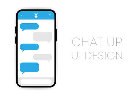 Mobile chat app UI vector mockup on smartphone screen. Social network design Template. Vector Illustration.