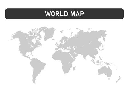 Gray world map on white background. Vector illustration.