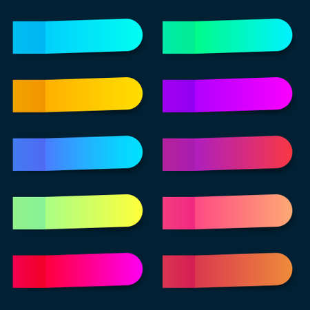 Colored paper stickers set with different designs on a transparent background. Shaded sticky notes on a dark blue background.