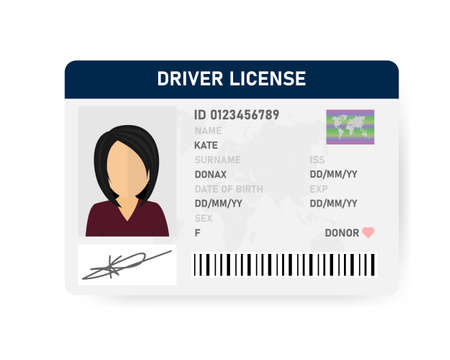Realistic driver license of women on white background. Vector illustration.