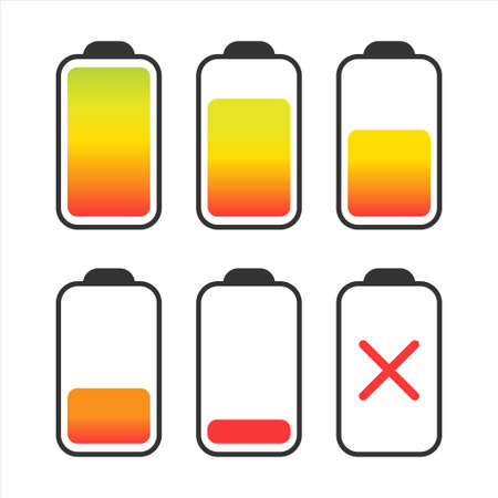 Set of batteries of different charge on white background. Vector illustration.