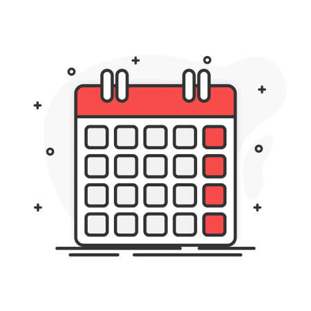 Flat design. Calendar on white background. Vector illustration.
