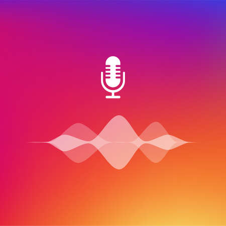 Podcast white colored on gradient background. Vector illustration.