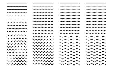 Set of wavy curved and zig zag criss cross horizontal lines on white background. Vector illustration.