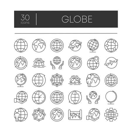 Big set of 30 globe related outline icons on white background. Thin line vector icons for website design and development, app development. Top zone for title set. Vector illustration. Ilustração