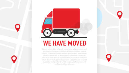 We have moved car on white background on the map with red markers. Delivery of the product to the client. Vector illustration.