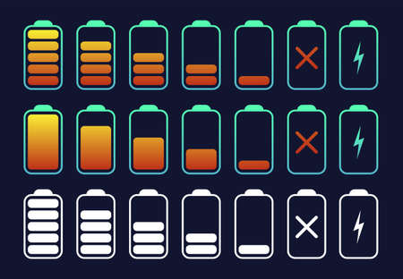Big battery symbol set different level of charge. Battery charge signs. Vector