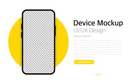 Smartphone blank screen. Device mockup. UI and UX design interface. Vector Ilustração Vetorial