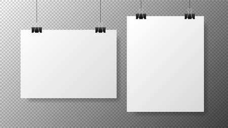 Blank white poster template on transparent with gradient background. Affiche, paper sheet hanging on a clip. Realistic objects on image. Vector Vecteurs