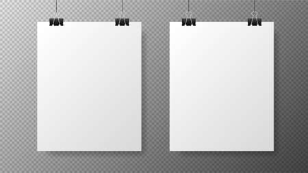 Blank white poster template on transparent with gradient background. Affiche, paper sheet hanging on a clip. Two vertical realistic objects on image. Vector