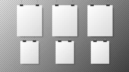 Big set blank white poster template on transparent with gradient background. Affiche, paper sheet hanging on a clip. Realistic objects on image. Vector Vecteurs
