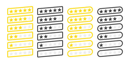 Five stars inclined four collection customer product rating review flat icon for apps and websites on white background. Vector