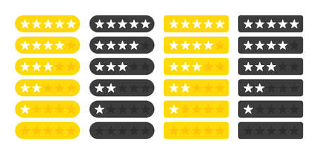 Five stars four collection customer product rating review flat icon for apps and websites on white background. White stars on yellow and black button. Vector