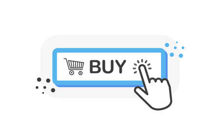 BUY blue 3D button with hand pointer clicking. White background. Vector