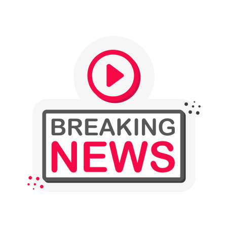 Live breaking news stream 3D blue button with play button isolated on white background for blog, bloggers, player, website, broadcast, online radio. Vector Ilustração