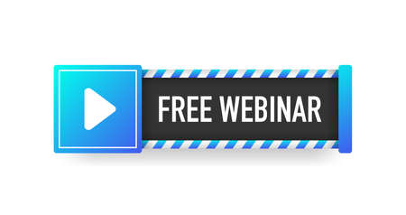 FREE WEBINAR blue sign. Striped frame. Banner isolated on white background. Vector. Ilustração