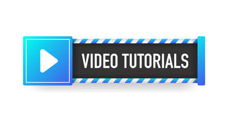 VIDEO TUTORIALS blue sign. Striped frame. Banner isolated on white background. Vector.