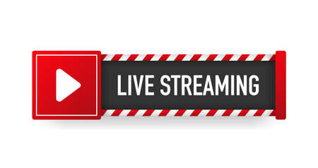 LIVE STREAMING red sign. Striped frame. Banner isolated on white background. Vector.