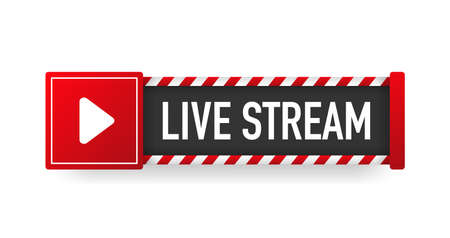 LIVE STREAM red sign. Striped frame. Banner isolated on white background. Vector.
