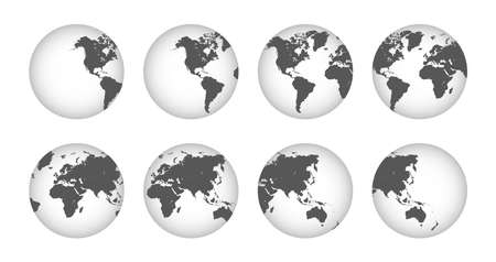 Earth globe collection icons. Hemispheres with continents. Vector.