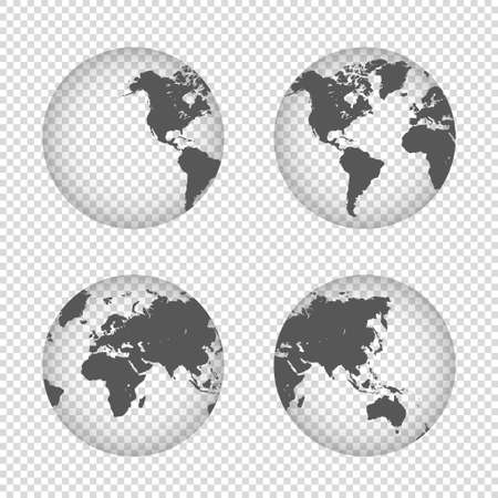 Earth globe collection icons. Hemispheres with continents on transparent background. Four map. Vector.
