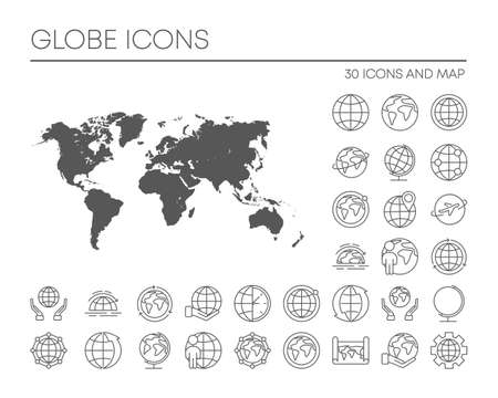 30 globe icons and map on white background. Big set signs. Vector.
