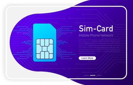 Mobile phone network sim card on browser window and gradient abstract background. Vector