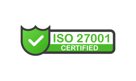 ISO 27001 certified green badge. Flat design stamp isolated on white background. Vector.