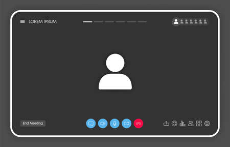 Call screen template on window browser or app. Video chat or meeting or conference. Mockup UI, UX interface. Vector.