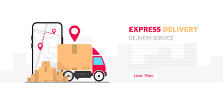 Fast express delivery package by map on mobile phone and car and product on city on white background. Vector. Ilustración de vector