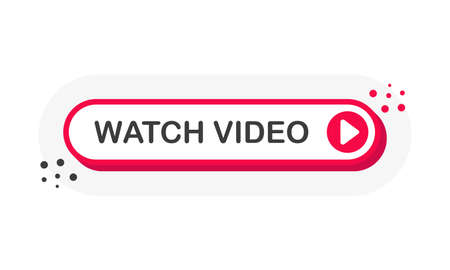 Watch Video 3D red button with play button isolated on white background for blog, bloggers, player, website, broadcast, online radio. Vector Ilustração