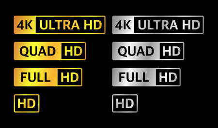 4K UHD, Quad HD, Full HD and HD resolution presentation nameplates of gold and silver gradient color on black background. TV symbols and icons of different colors. Vector. Vektoros illusztráció