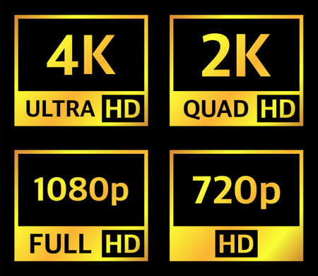 4K UHD, Quad HD, Full HD and HD resolution presentation nameplates of gold gradient color on black background. TV symbols and icons. Vector. Vector Illustration
