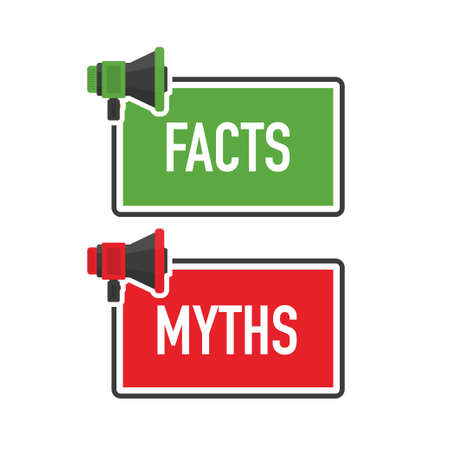 Megaphone geometric green and red banner with FACTS and MYTHS speech bubble. Flat style. Vector.