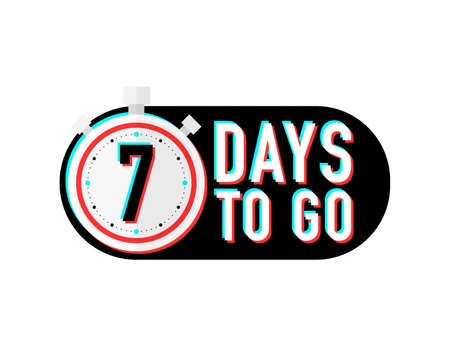 Timer number seven days to go countdown vector illustration template on white background. Vector