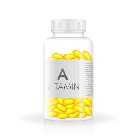 Vitamin realistic bottle in 3d style. Spray bottle icon. White background, isolated. 3d vector. Mock up, template. White box mockup. Product template. Vector illustration.