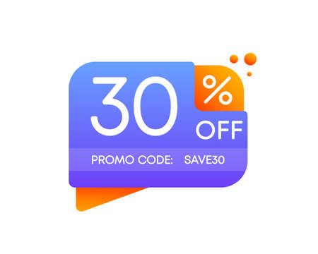 Promo code save. 30 percent off discount nameplate on a white background in flat design. Business, shop, producte sale. Vector.