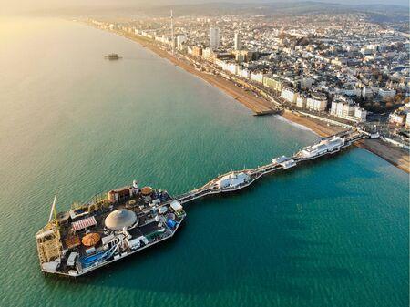 Brighton Pier, Reino Unido - Fotografía aérea Foto de archivo