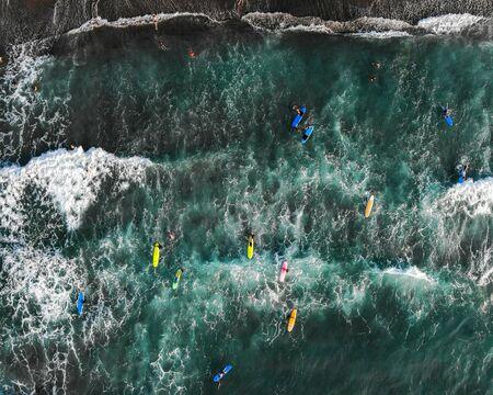 Surfers at San Juan La Union, The Philippines - Aerial Photograph