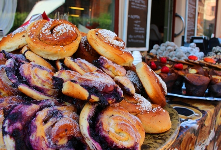 gothenburg: Fresh cakes and pastries for sale outside a bakery in Gothenburg, Sweden Stock Photo
