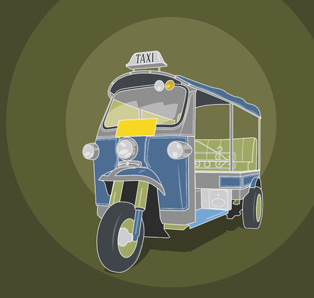 Tuk-tuk taxi retro illustration Vector