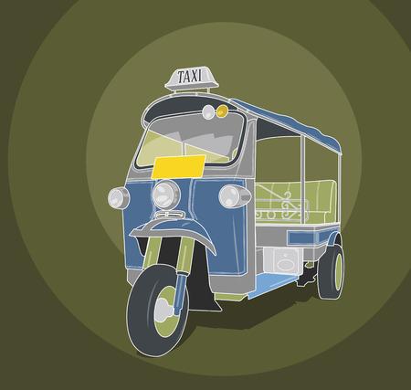 mototaxi: Tuk-tuk taxi retro illustration