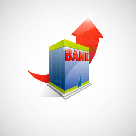 bank building: Illustration of bank building and red arrow up on background